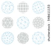 set of low poly spherical... | Shutterstock . vector #548611153