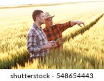 two farmer standing in a wheat... | Shutterstock . vector #548654443