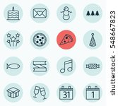 set of 16 happy new year icons. ... | Shutterstock . vector #548667823