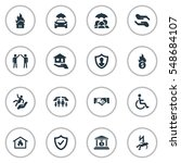 set of 16 simple insurance... | Shutterstock . vector #548684107