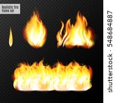 realistic fire flames set. real ... | Shutterstock .eps vector #548684887