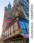 Small photo of Historic building and Granus Tower in Aachen, Germany