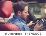 man using cell phone texting... | Shutterstock . vector #548703073