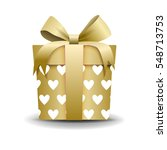 square 3d gift box with ribbon... | Shutterstock .eps vector #548713753