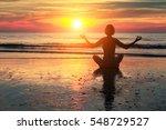 meditation girl on the sea... | Shutterstock . vector #548729527