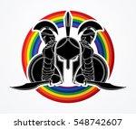 spartan warrior pose designed... | Shutterstock .eps vector #548742607