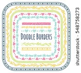 set of doodle borders ... | Shutterstock .eps vector #548758273