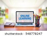open laptop with isolated white ... | Shutterstock . vector #548778247
