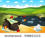 rubbish in river and on the... | Shutterstock .eps vector #548821213