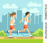 jogging sport people  athletic... | Shutterstock .eps vector #548837413