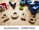 sports equipment with 2018... | Shutterstock . vector #548857663