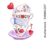 party colorful tea cups and...   Shutterstock . vector #548881207