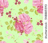 floral pattern. bunches of pink ... | Shutterstock .eps vector #548885593