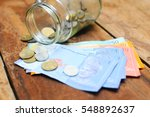 malaysia ringgit note and coins ...   Shutterstock . vector #548892637