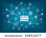 blockchain word with icons as... | Shutterstock .eps vector #548916577
