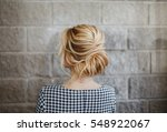 blonde woman hairdo french... | Shutterstock . vector #548922067