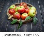 fresh fruit on old wooden plate ...   Shutterstock . vector #548947777
