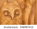 Carved Wooden Surface With The...