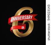 6 years anniversary golden logo ...   Shutterstock .eps vector #549023143