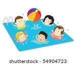 jpeg kids having fun in the pool | Shutterstock . vector #54904723
