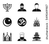 beliefs icons set. simple... | Shutterstock . vector #549049987