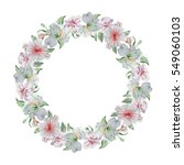wreath with different flowers.... | Shutterstock . vector #549060103