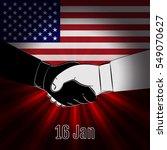 handshake on background of the... | Shutterstock .eps vector #549070627