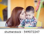 portrait of happy pretty mother ... | Shutterstock . vector #549072247
