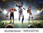 multi sports happy players... | Shutterstock . vector #549133753