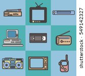 flat icons set of retro... | Shutterstock .eps vector #549142327