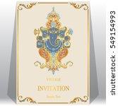 indian wedding invitation card... | Shutterstock .eps vector #549154993