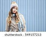 young woman posing outdoor in... | Shutterstock . vector #549157213