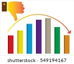 thumb down vector  icon. multi... | Shutterstock .eps vector #549194167