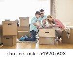 family unpacking cardboard... | Shutterstock . vector #549205603