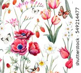 watercolor botanical spring... | Shutterstock . vector #549214477