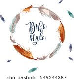 hand drawn feathers wreath with ... | Shutterstock .eps vector #549244387