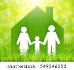 happy family in sweet home... | Shutterstock .eps vector #549246253
