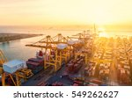 container ship in export and... | Shutterstock . vector #549262627
