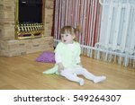 one year old baby girl sitting... | Shutterstock . vector #549264307