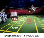 dices throw on craps table at... | Shutterstock . vector #549309133