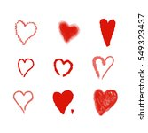 set of hand drawn red  hearts....   Shutterstock . vector #549323437