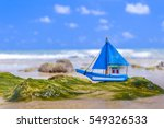 miniature toy sailboat on the... | Shutterstock . vector #549326533