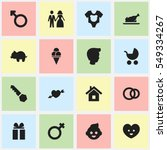 set of 16 editable family icons....