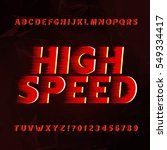speed alphabet vector font.... | Shutterstock .eps vector #549334417