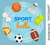 set of colorful sport balls at... | Shutterstock .eps vector #549336697