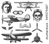 vintage aircraft elements set... | Shutterstock .eps vector #549375487