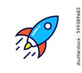 linear rocket icon. pictogram... | Shutterstock .eps vector #549389683