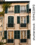 vintage building facade wall of ... | Shutterstock . vector #549422893