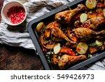 crust chicken with pumpkin and... | Shutterstock . vector #549426973
