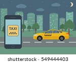 phone with interface taxi on a... | Shutterstock .eps vector #549444403